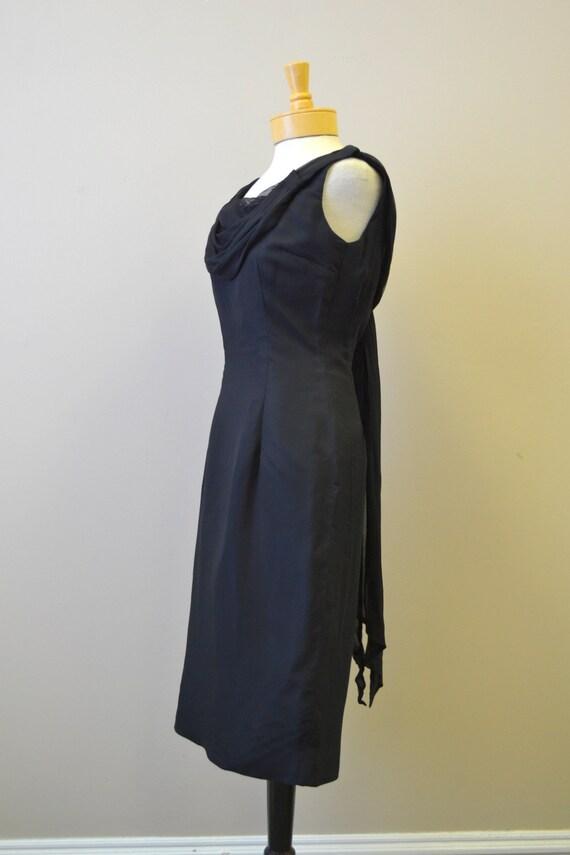 1950s Melbray Black Chiffon Wiggle Dress - image 4