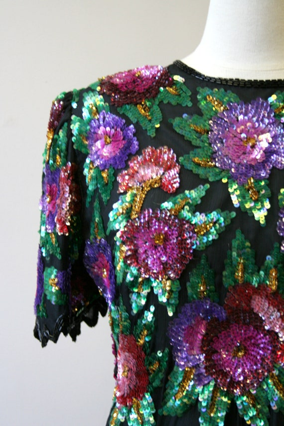 1980s Sequined Floral Blouse - image 2