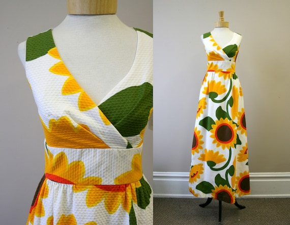 1960s Malia Sunflower Cotton Pique Maxi Dress