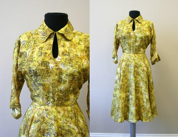 1940s/50s Yellow Printed Silk Dress with Rhineston