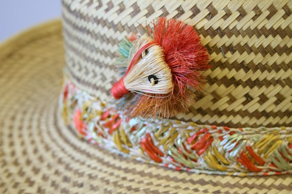 1960s Two Tone Wide Brim Straw Hat - image 8