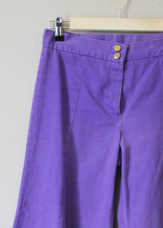 1970s Purple Denim Bell Bottoms - image 3