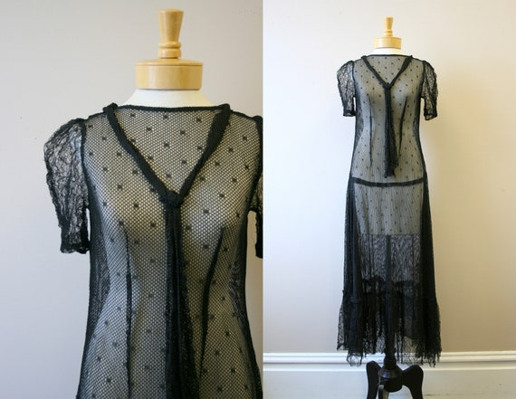 1920s/30s Black Mesh Dress - image 1