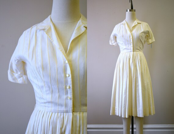 1960s L'Aiglon Striped Cotton Shirtwaist Dress