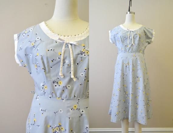 1950s Gray Daisy Cotton Dress