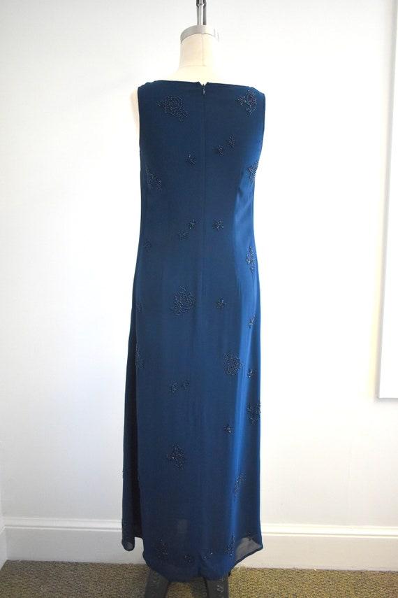 1990s Laura Ashley Navy Beaded Chiffon Maxi Dress - image 5