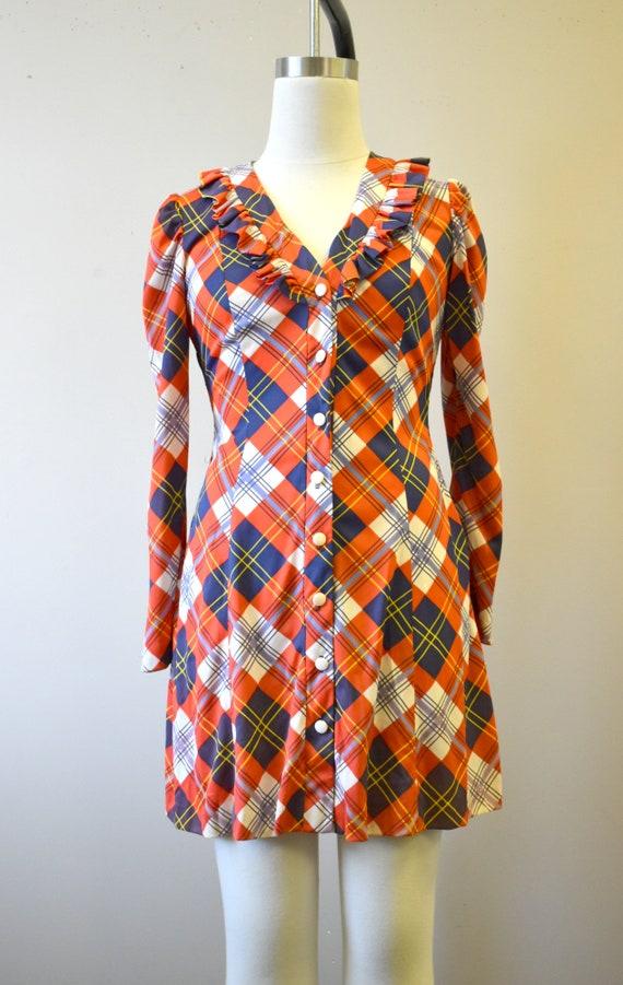 1970s Orange Plaid Mini Dress - image 3