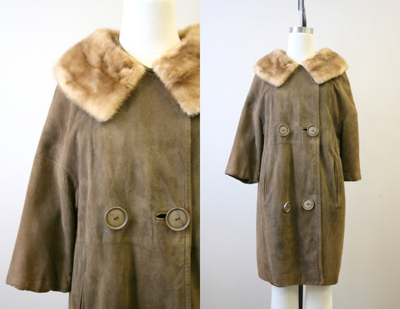1960s Brown Suede Coat with Fur Collar