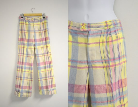 1970s Pastel Plaid Wide Leg Cuffed Trousers