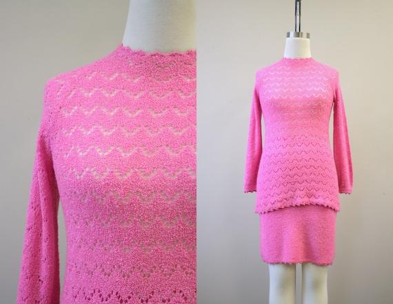 1970s St. John Knits Vivid Pink Sweater and Skirt