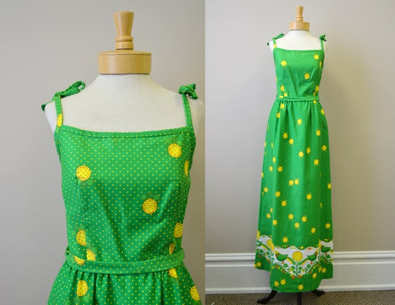 1960s Malia Bird and Sunflower Maxi Dress