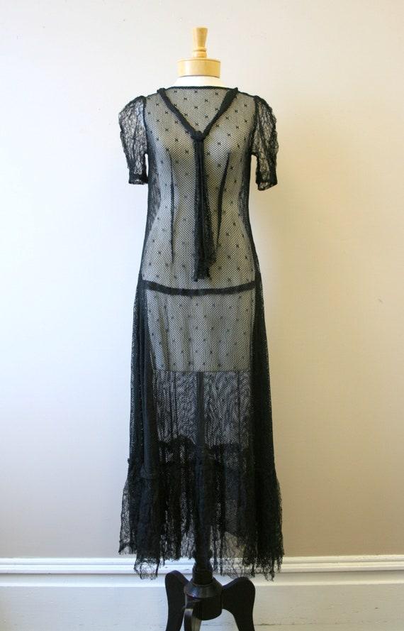 1920s/30s Black Mesh Dress - image 2