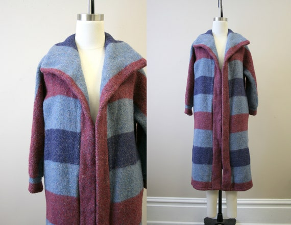 1970s Striped Wool Blend Coat