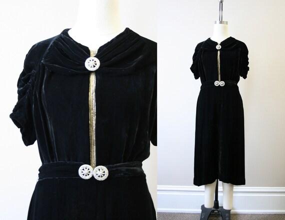 1930s Black Velvet Dress and Belt