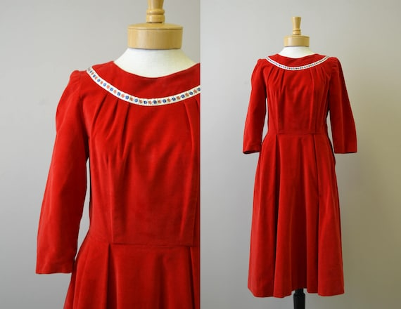 1950s Red Velveteen Dress