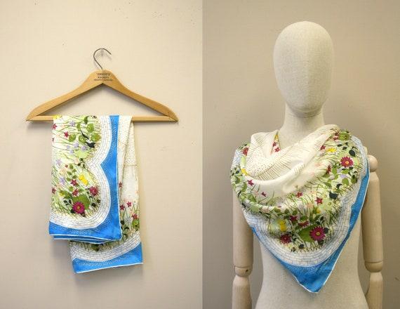 1940s Flower Garden Silk Scarf