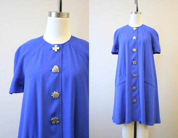 1990s Ms. Chaus Blue Trapeze Dress