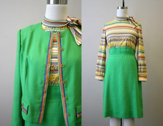 1970s Leslie Fay Green Dress and Jacket