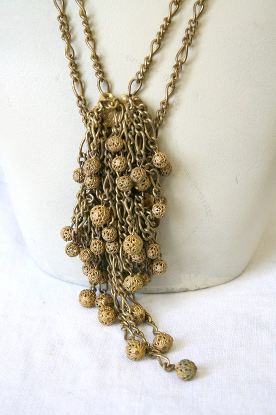 1930s Miriam Haskell Brass Dangle Necklace - image 3