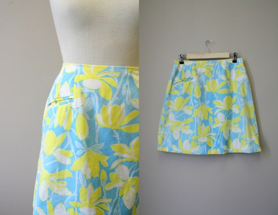 1960s Lilly Pulitzer Blue and Yellow Floral Mini S