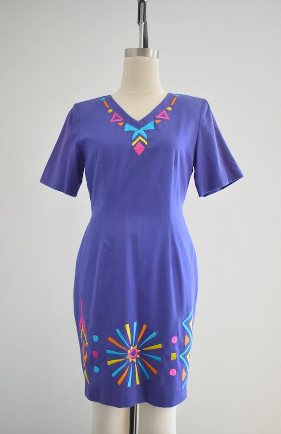 1990s Purple Geometric Embroidered Dress - image 3