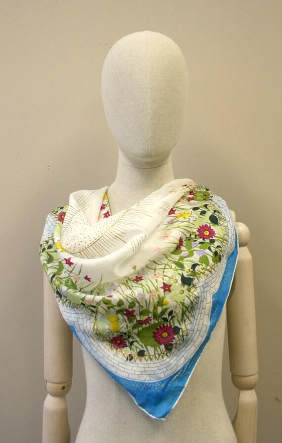 1940s Flower Garden Silk Scarf - image 3