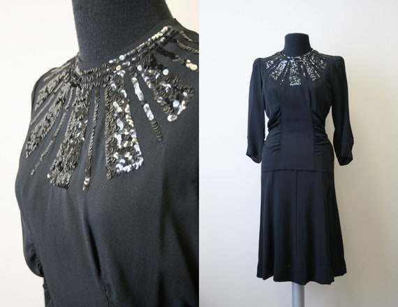 1940s Black Sequin Dress