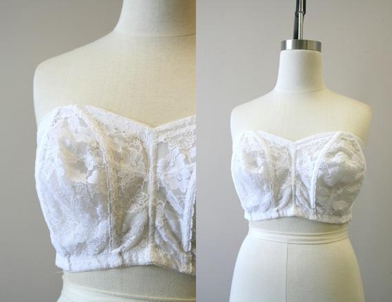 1970s Sears White Lace Strapless Bra