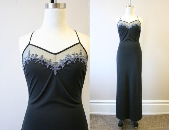 1990s Cache Black Beaded Slip Dress
