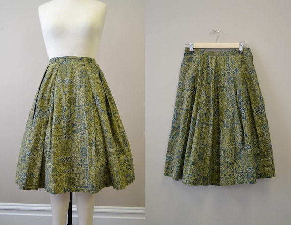 1950s Lady Manhattan Green Batik Skirt