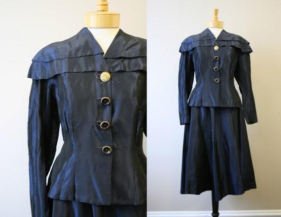 1940s Navy Taffeta Jacket and Skirt Set