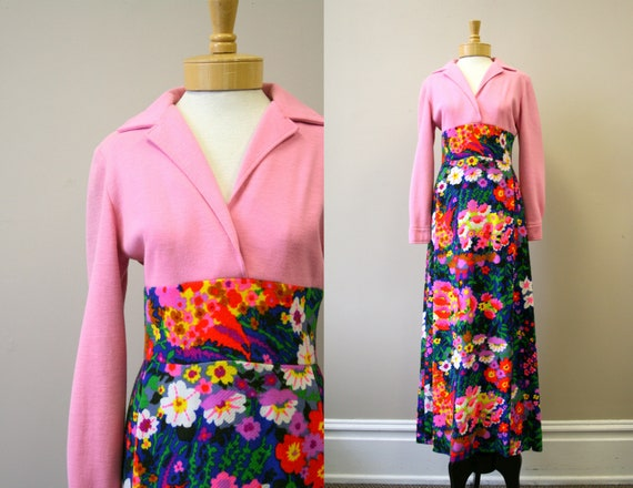 1960s Lilly Pulitzer Wool Floral Maxi Dress