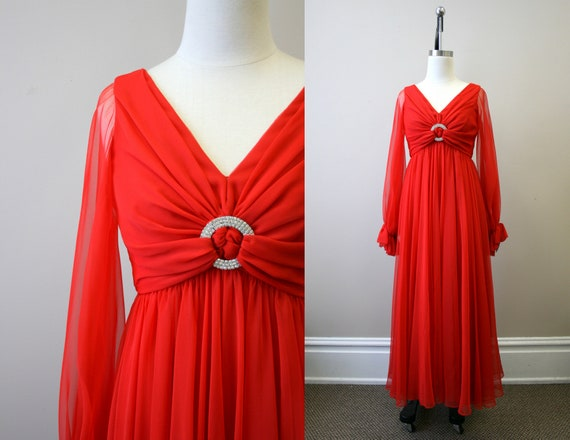 1970s Modern Couture Red Chiffon Formal Dress