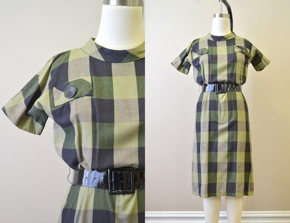 1950s Gilden Juniors Green Windowpane Plaid Dress