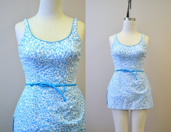 1960s Roxanne Blue Floral Skirted Swimsuit
