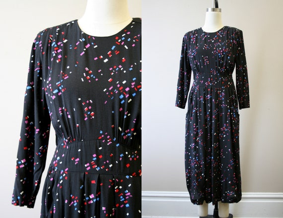 1980s-does-1940s Printed Dress
