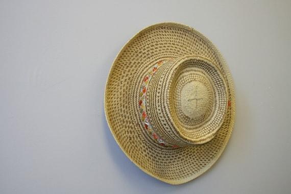 1960s Two Tone Wide Brim Straw Hat - image 6