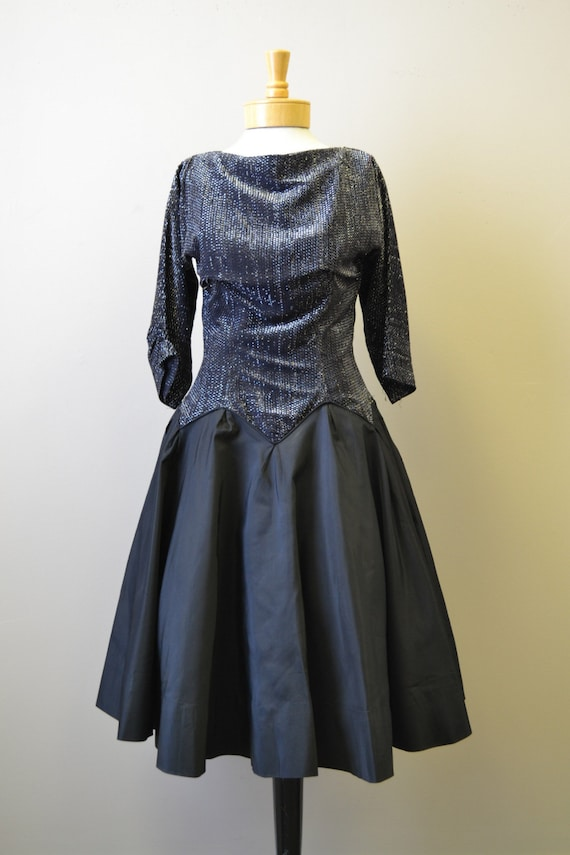 1980s-does-1950s Black and Silver Formal Dress - image 3
