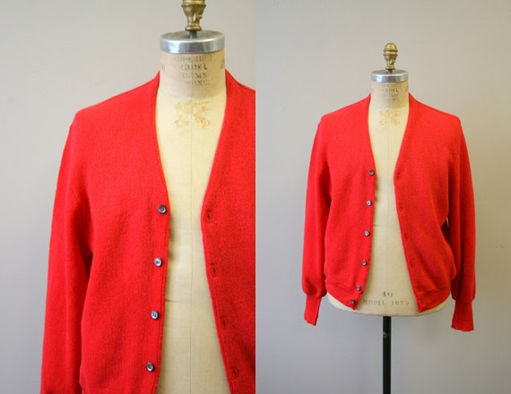 1960s Coral Red Alpaca and Wool Men's Cardigan Swe