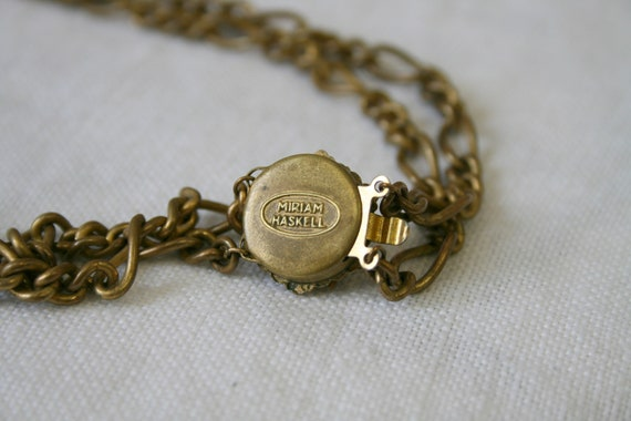 1930s Miriam Haskell Brass Dangle Necklace - image 6
