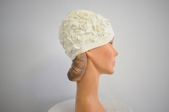 1960s Cream Roses Rubber Swim Cap
