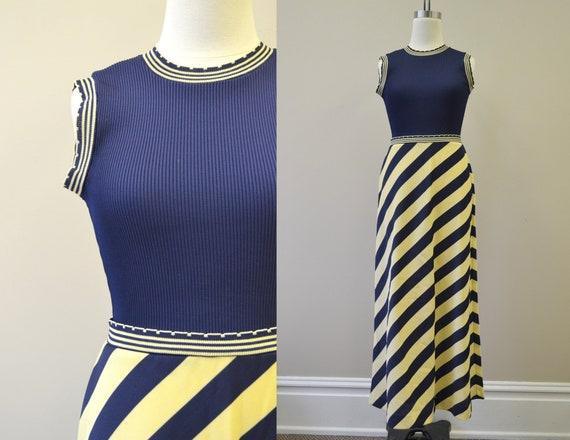 1960s Jonathan Logan Navy Striped Maxi Dress