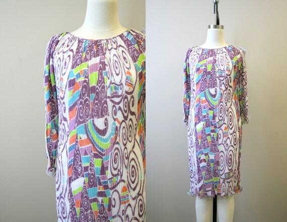 1970s Mary McFadden Printed Pleated Dress