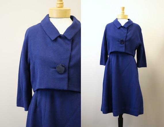 1960s Rafi Blue Wool Skirt Suit