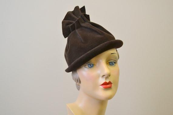 1930s Brown Fur Felt Ruffle Top Hat