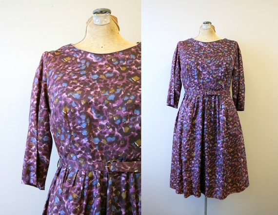 1950s Purple Print Dress and Belt