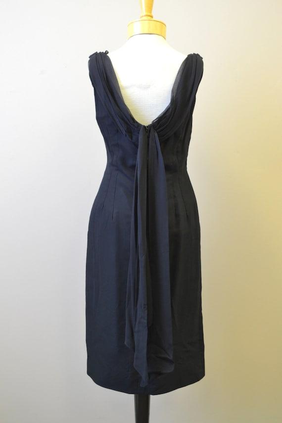 1950s Melbray Black Chiffon Wiggle Dress - image 5