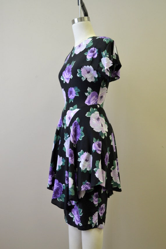 1980s-does-40 Purple Rose Print Dress with Peplum - image 4