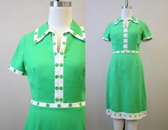 1960s Carlye Kelly Green Dot Dress