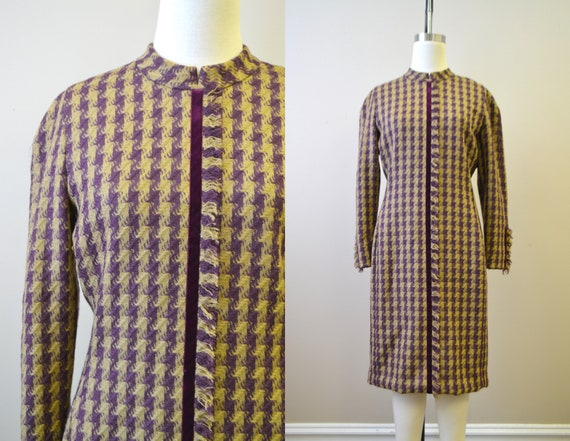 1990s Carolina Herrera Wool Houndstooth Dress